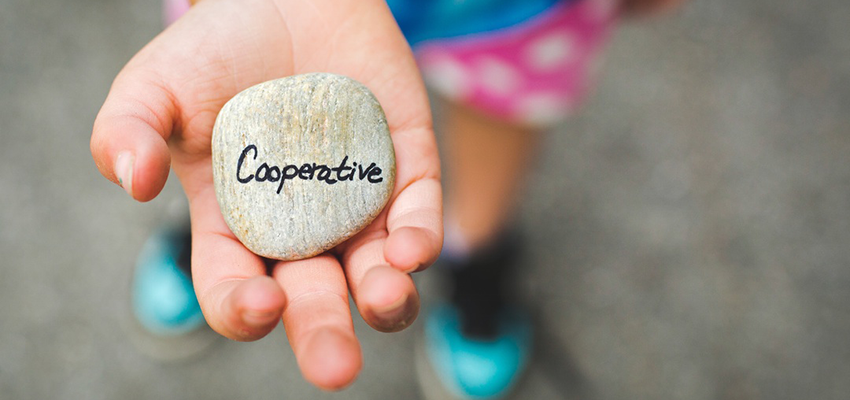 "Child holding rock with word ""Coopertive"" on it"